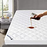 Waterproof Mattress Pad Twin, Breathable Quilted Mattress Protector, Durable and Noisless Mattress Cover Stretches up to 14 Inches Deep Pocket Down Alternative Fiber Mattress Topper