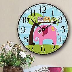 Eruner Cute Wall Clock, 14 Modern Family Animated Cartoon Decoration 14-Inch Wood Clock Painted Elephant Owl Lovely Style Silent Quartz Movement #12888 for Nursery Kid's Room Decal(Elephant, M5)
