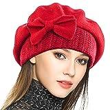 VECRY Mujer Boina 100% Lana Vestido Beanie Invierno Sombrero (Rojo)