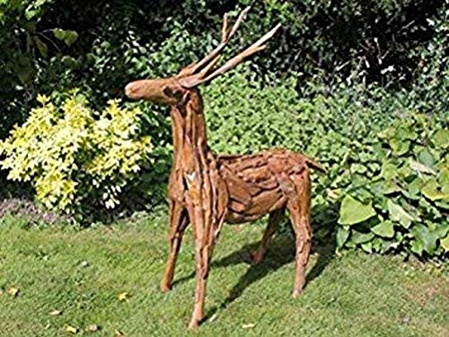 HomeZone Large Deer Sculpture Stag Statue Garden Ornament Statue Garden Decor Home Christmas Reindeer Animal Sculpture Deer Statue Wood Effect Outdoor Sculptures Decoration Garden Animal Ornaments