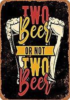ビール2杯まだはビール2杯(ブラックバック)コレクション可能な壁アートブリキ看板