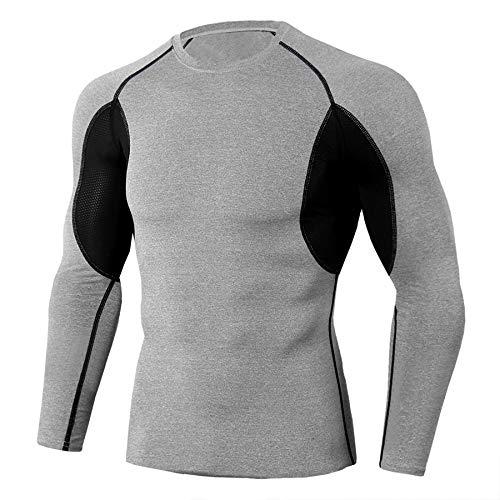 Ducomi Maglia Palestra Uomo a Manica Lunga a Compressione - Abbigliamento Sportivo Fitness - Maglia Sport per Allenamento Palestra Running, Corsa (Grey, L)