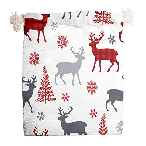 HXshqian kerstherten trekkoordtassen opslag duurzaam geschenkpakket voor kinderen Pack van 6