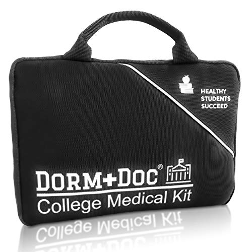DormDoc 125 Piece Emergency First Aid Kit for College Students - Dorm Room Medical Kit with OTC Medicines and Bandages - Health Kit in Compact Zipper Case for School, Sports, Vehicle and Travel