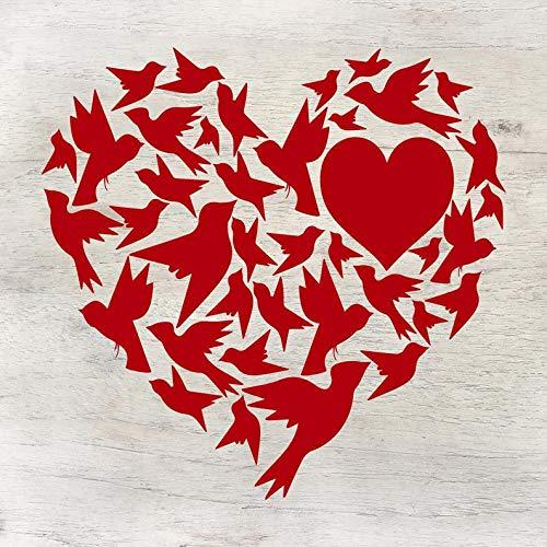 Love Birds Herz, schöne Liebe, Geschenk für Ehemann, Geschenk für Ehefrau, bedeutendes anderes, Jahrestagsgeschenk, Vinylaufkleber, Liebesaufkleber, Heimdekoration