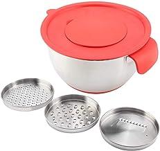 Slakom, Slakom met deksel,Salade Bowl,RVS Bowl Ei Mixing Salade Bowl met Handvat Grater Deksel Keuken 20cm