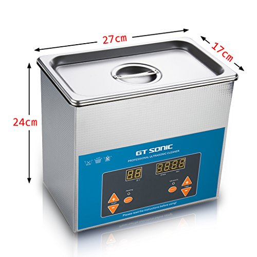 GT SONIC 3L Ultrasonic Cleaner Heated Cleaner with Adjustable Timer Ultrasonic Jewelry Cleaner Machine for Jewellery Rings Watches Eyeglasses Dentures Coins Metal Parts Lab Tools and More