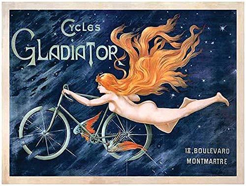 KELLEN WHITEHEAD Ravel Freedom Cycles Gladiator Cartel Divertido De La Decoración del Tablero del Arte del Metal De La Muestra De Pared