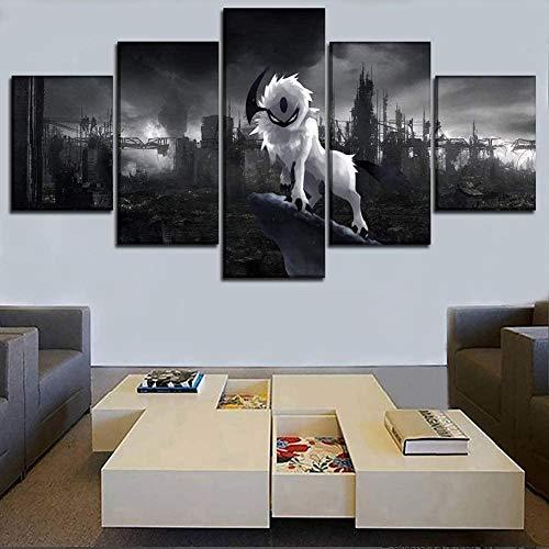 SESHA Póster De Lienzo 5 Piezas HD Arte De La Pared Impresa Decoración Dormitorio El Hogar Pintura De La Lona Foto El Animación para Mascotas(Enmarcado)