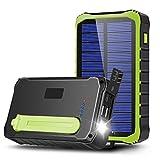 CXYP Cargador solar, 12000 mAh, manivela portátil, cargador de teléfono móvil, batería externa, 2 puertos USB, batería solar con linterna LED SOS, mosquetón (verde)