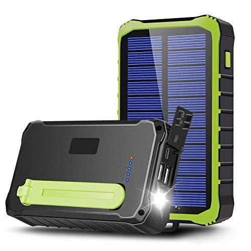 CXYP Powerbank Cargador solar, 12.000 mAh, batería externa, generador de manivela con doble salida USB y linterna para teléfonos móviles, cámara (verde)