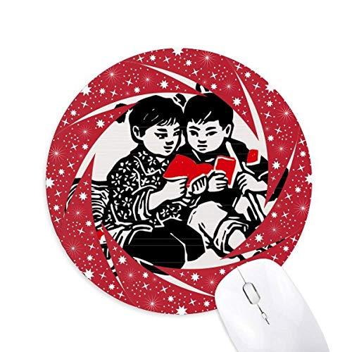 Junge Mädchen Hut Rucksack Buch Patriotismus Rad Maus Pad Round Red Rubber