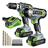 WORKPRO 20V Cordless Drill Combo Kit, Drill Driver and Impact Driver with 2x 2.0Ah Batteries and 1...