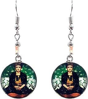Frida Kahlo Famous Artist Round Silver Dangle Earrings
