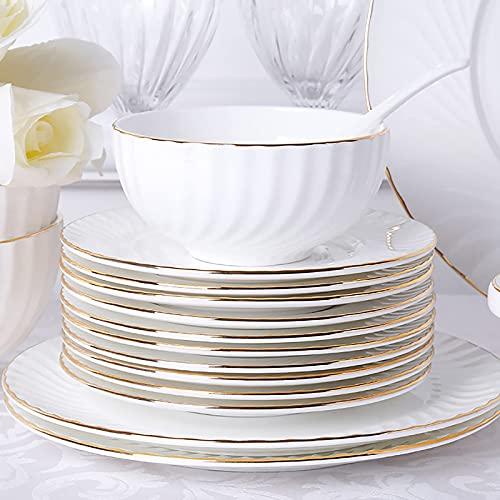 Middagsuppsättning, vitt porslinskök som serverar middagsservis Kombiset med spannmålsnudelskålar Efterrätt Djup soppa Fiskplattor Mikrovågsugn och ugnssäker (18 stycken service för 6 person