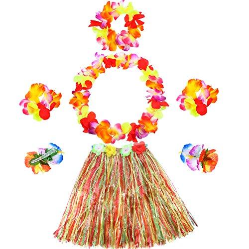 Gejoy 6 Piezas de Falda Hawaiana Hula Juego de Falda de Hierba Incluye Pulsera Diadema Collar de Flores Hierba Clip de Pelo Hibisco