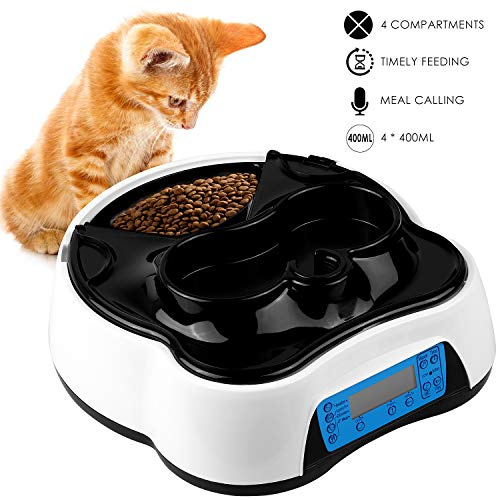 pedy Automatic Cat Feeder 2 in 1, Dog Auto Feeder Pet Food Dispenser with Voice Recording and Timer Programmable Up to 4 Meal Trays for Dry and Wet Food