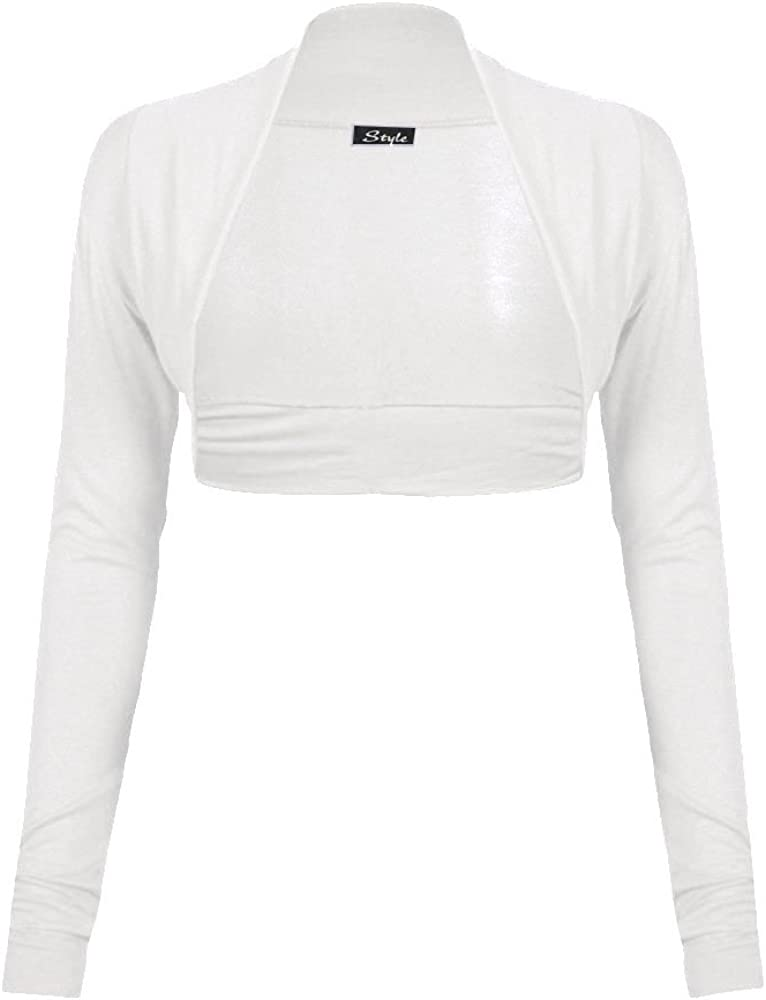 Forever Womens Plain Long Sleeves Plus Size Bolero Shrug Cardigan Top