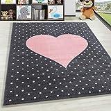 HomebyHome Alfombra Infantil Diseño del corazón Habitación Infantil para bebé Gris Rosa rectángulo Redonda, tamaño:80x150 cm, Color:Rosa