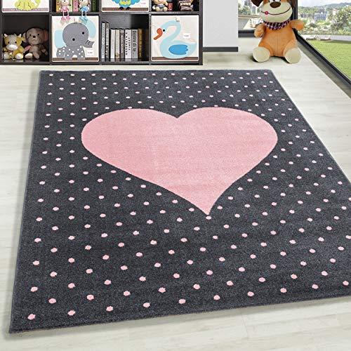 HomebyHome - Tappeto per la cameretta dei bambini, a pelo corto, motivo a forma di cuore, colore grigio e rosa, 100% polipropilene, rosa., 80 x 150 cm