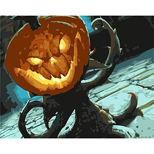 weilan1999 Frameless Digitale MalereiDIYHauptdekoration Malerei Gemälde VonHand Bemalt Halloween Kürbisse Pigment Geschenk Gemalt Färbung40X50Cm