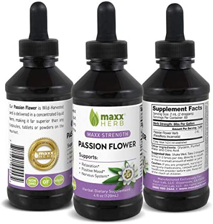 Maxx Herb Passion Flower Liquid Extract 4 Oz Bottle with Dropper Max Strength Absorbs Better product image
