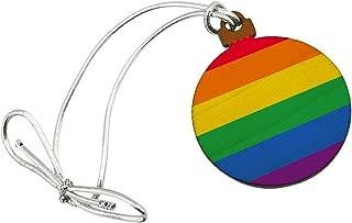 GRAPHICS & MORE Rainbow Pride Gay Lesbian Contemporary Mini Small Tiny Wood Christmas Tree Holiday Ornament