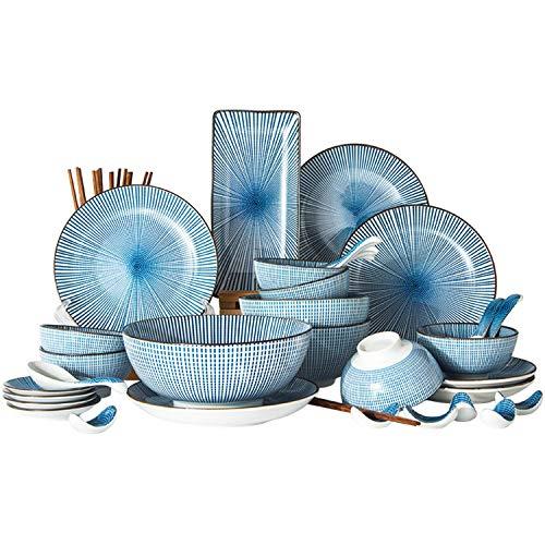 XCXDX 42 Piezas De Cubiertos De Porcelana Azul, Plato De Vajilla De...