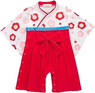 Sunyam ベビー着物 女の子 ゆかた 袴風 ロンパース 和装 和服 キッズ 幼児 女児 綿 春秋(9M-3歳)