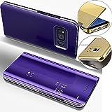 EMAXELERS Galaxy S8 Plus Funda, Funda Samsung Galaxy S8 Plus Espejo Caja de Maquillaje con Marco de Cuero de la PU Flip Protectora de Cuerpo Completo para Samsung Galaxy S8 Plus Mirror PU : Purple