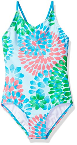 Kanu Surf Girls' Big Beach Sport 1-Piece Swimsuit, Daisy Blue, 14