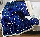 Stars Sherpa Fleece Throw Blanket, Cute Cartoon Blue Meteor Stars Blanket Super Soft Plush Flannel Fuzzy Blanket Sofa Chair Bed Throw Blanket for Kids and Adults All Seasons (Stars, 50' x 60')