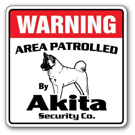 Akita Security Sign Area Patrolled pet Dog Veterinarian Kennel AKC Warning