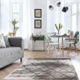 MyShop24h Alfombra de salón, gris, pelo corto, diseño de rombos, tamaño: 80 x 150 cm