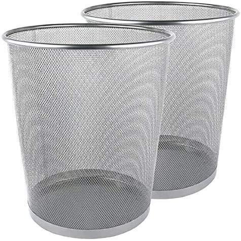 Metall-Mesh-Abfalleimer, silberner Metall-Mülleimer, Papierkorb, leichter silberner Mülleimer für Büro, Zuhause, 2 Stück (Silber, rund)