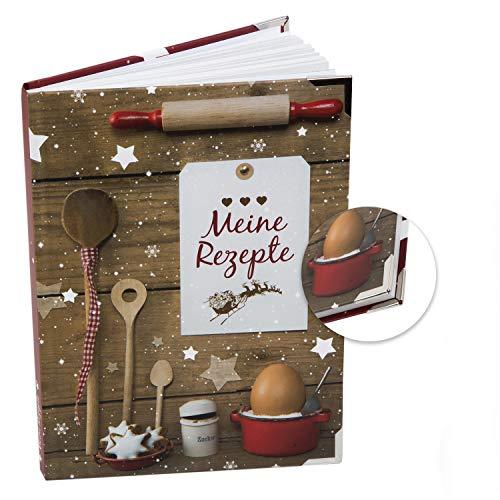 Logbuch-Verlag DIY Rezeptbuch MEINE REZEPTE weihnachtlich - Backbuch zum Selberschreiben blanko für Weihnachtsplätzchen Geschenk Weihnachten