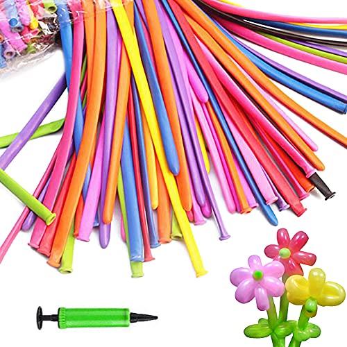 100PCS Magic Modellierballons Luftballons,Langer Ballon,Ballon formen,Tierballons,Zauberballon mit Luftpumpe,Für Veranstaltungen Dekoration,Partys,Hochzeiten,Jubiläen