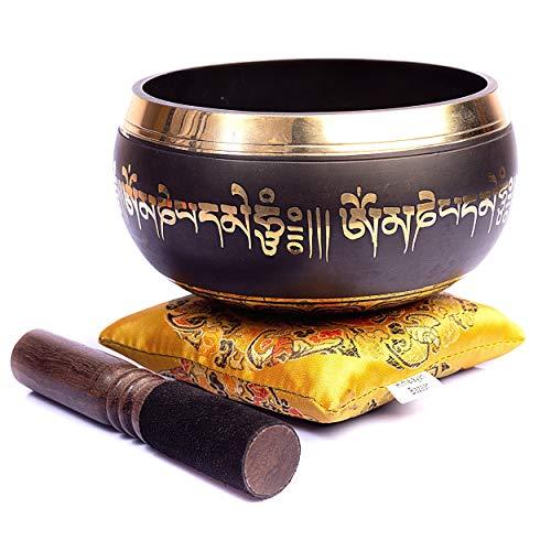 Bazar de l'Himalaya Guérison tibétain Mantra Bol chantant avec maillet en bois et coussin