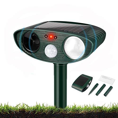Garden Cat Repellent, Ultrasonic Cat Repellent with Motion Sensor and Flashing Lights, Solar Powered, Cat Dog Birds Foxes Animal (Waterproof)