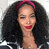 Nadula 10A Afro Malaysian Curly Hair Half Wig WEAR WITH OR WITHOUT Headband Wig For Black Women 100% Malaysian Human Hair Kinky Curly 3/4 Half Wig Gluless 150% Density Natural Color (18inch)