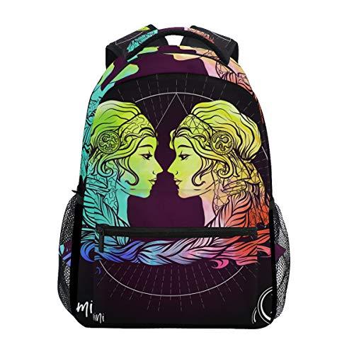 Jeansame Rucksack Schultasche Laptop Reisetaschen für Kinder Jungen Mädchen Damen Herren Zwillinge Astrologie Sterne Sternbild