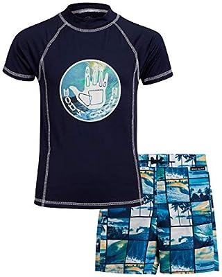 Body Glove Boys' 2-Piece UPF 50+ Rash Guard and Swimsuit Trunks Set, Size 5, Dark Navy Beach