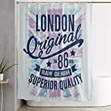 VINISATH Cortinas de Ducha,Fondo Vintage de tipografía Retro de Londres,Cortina de baño Decorativa para baño,bañera 180 x 180 cm