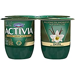 Dannon Activia Lowfat Yogurt, Vanilla, 4 Ounce (Pack of 4) Lowfat Probiotic Yogurt Snack