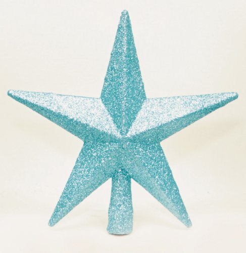 Blue Glitter Star Christmas Tree Topper (20cm) by Christmas Direct