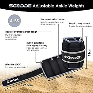 SGODDE Ankle Weights for Women Men Kids, Wrist Weights Strength Training Ankle Weights with Removable Weight Adjustable Strap for Running, Jogging, Workout, Aerobics 4/7/10 LB Pair
