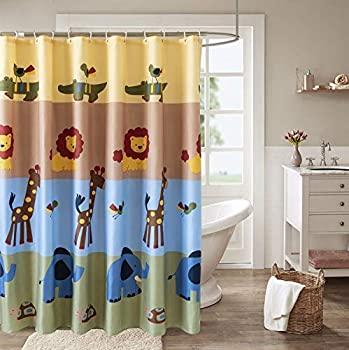 Ysunm Children s Animals Shower Curtain Kids Cute Cartoon Animal and Lion Giraffe Elephant Pattern Bathroom Waterproof Polyester Fabric Shower Curtains 72 x 72 inch Colorful with Hooks Set