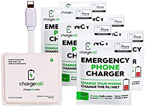ChargeTab 6 Pack Emergency Portable Charger for On-The-Go Stand-by Power, iPhone Compatible, Pre-Charged Battery Pack with 2 Year Shelf Life (2900mAh Each)