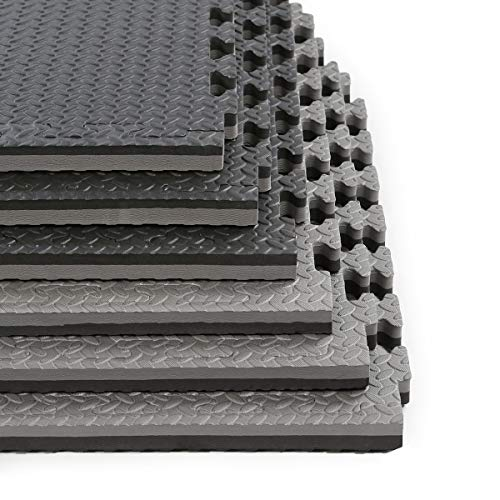 Clevr 1' Extra Thick 48 sq ft Reversible EVA Gym Foam Floor Mat Tiles (24' x 24'), 1 Year Limited Warranty, Steel Pattern, 12 pcs, Black & Grey