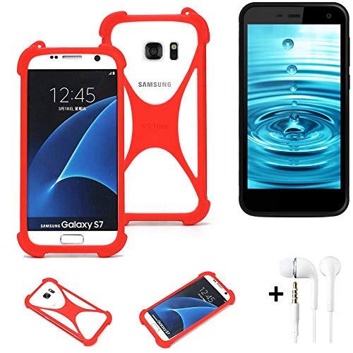 K-S-Trade® Handyhülle + Kopfhörer Für Energizer H500S Schutzhülle Bumper Silikon Schutz Hülle Cover Case Silikoncase Silikonbumper TPU Softcase Smartphone, Rot (1x),